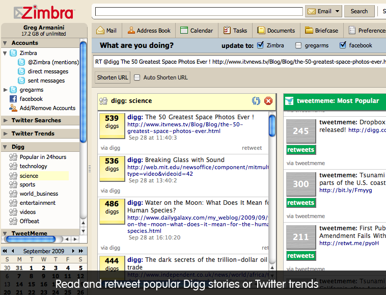Zimbra Social - Digg and Twitter trends