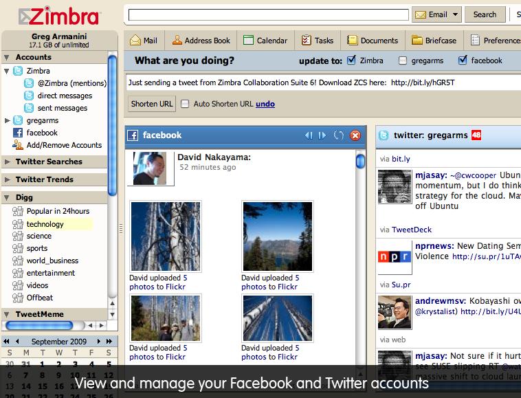 Zimbra Social - Facebook and Twitter