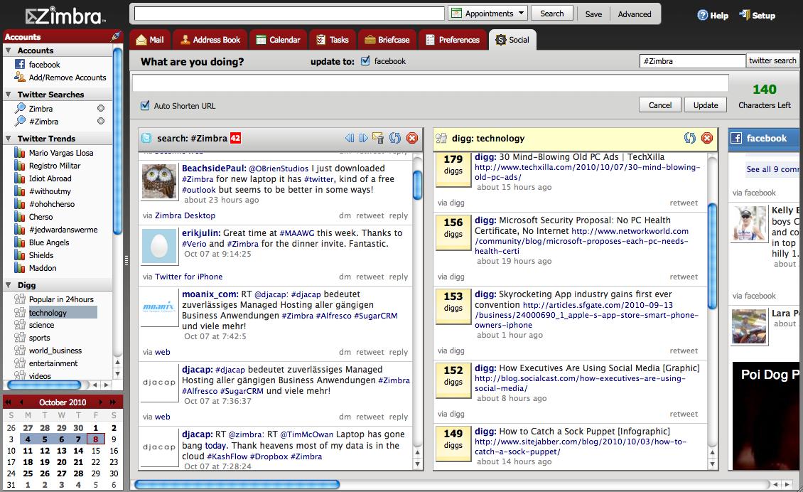 Снимок Zimbra Desktop 2.0